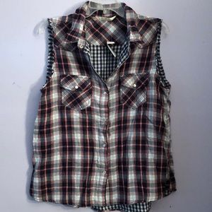 Red and gray plaid tank top
